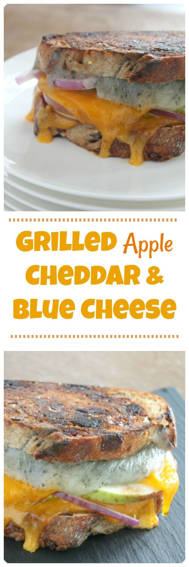 Grilled Apple Cheddar and Blue Cheese.  Cranberry walnut bread stuffed with sweet farm apple slices, sharp cheddar, tangy blue cheese and red onion slices. All the flavors of fall in a warm, buttery, crisp grilled cheese. This is an adult version of the comforting childhood favorite you still love.  #grilledcheese #fallrecipes #grilledcheeserecipes #sandwich #apple #applerecipes #mycapecodkitchen