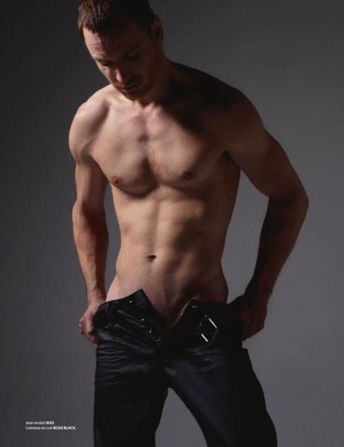 Michael Fassbender shirtless...