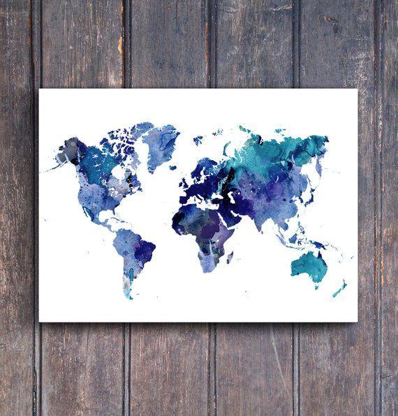 Poster Weltkarte 8 Blau Aquarell Weltkarte Poster Verschiedene