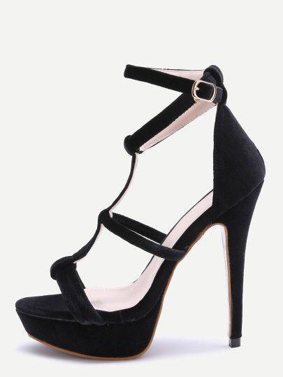 Sandales à talons plate-forme orteil ouvert avec sangles -noir  Only 33.20€