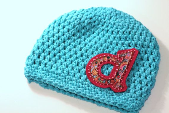 Crocheting Letters Into A Hat : Little Girls Hat Crochet Cotton Beanie with by MaineCoonCrafts, $18.00