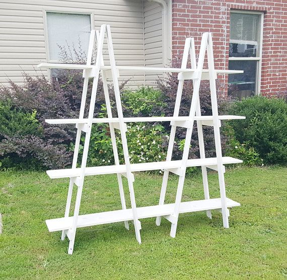 Double Ladder Shelf - 6 ft - Wood Ladder - A Frame Bookshelf - Decorative Ladder - Portable Craft Show Display - Wood Ladder Shelf