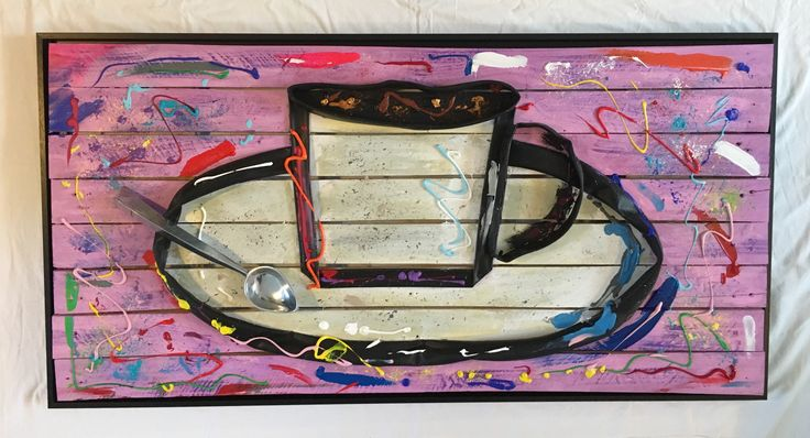 COFFEE, 120 x 60, wood from a pallet, bicycle tube, metal salad spoon, acrylic paint, in a black frame