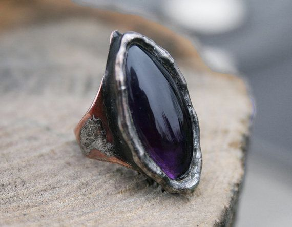 amethyst ring purple ring copper ring copper by Blacksmithworkshop, #amethystring
