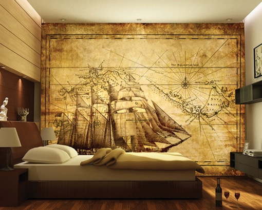 Photo wall mural grand explorer 400x280 wall decor for Vintage bedroom wallpaper