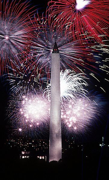 Fourth of July fireworks behind the Washington Monument, Washington, DC