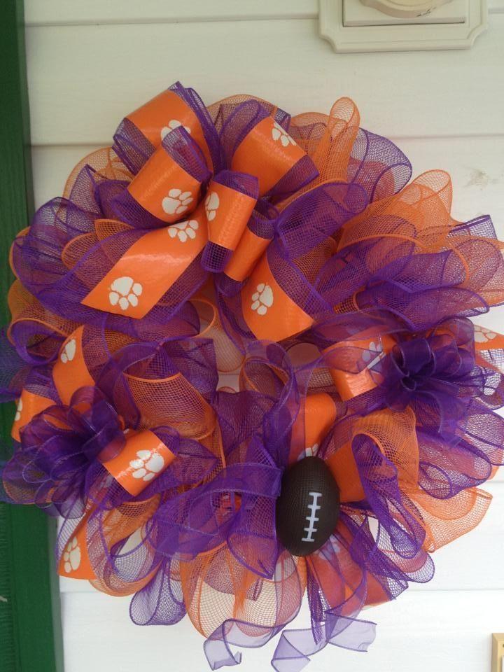 Clemson mesh wreath w/football   $50