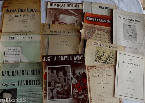 Vintage Religious Sheet Music Lot 13 Pieces