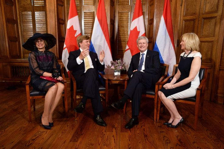 King and Queen of the Netherlands visit Canada  ~~ Netherlands King Willem-Alexander and Queen Maxima meet with Canadian Prime Minister Stephen Harper and his wife Laureen in Ottawa on Wednesday, May 27, 2015.