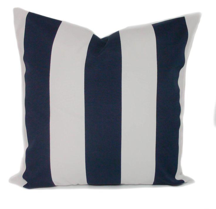 Navy blue outdoor pillow cover, 20x20, Outdoor pillows, Outdoor cushions, Outdoor throw pillow, Stripe pillow, Outdoor toss pillows by PillowCorner on Etsy