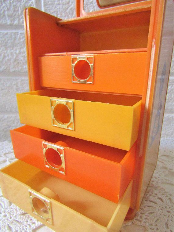 Plastic Jewellery Box : plastic, jewellery, 1970's, Trinket, Drawers, Mirror., Holly, Hobbie, Style, Plastic, Jewellery, Doll's, Dressing, Table., Make-Up, Storage., Boxes,, Jewelry,