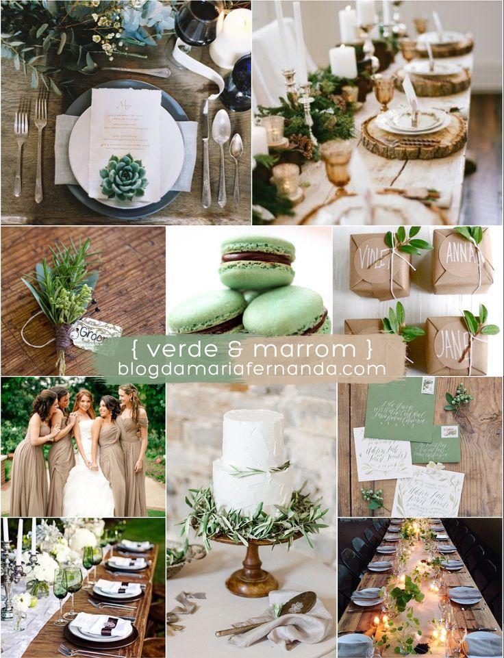 Decoração de Casamento Paleta de Cores Marrom e Verde   Blog de Casamento DIY da Maria Fernanda