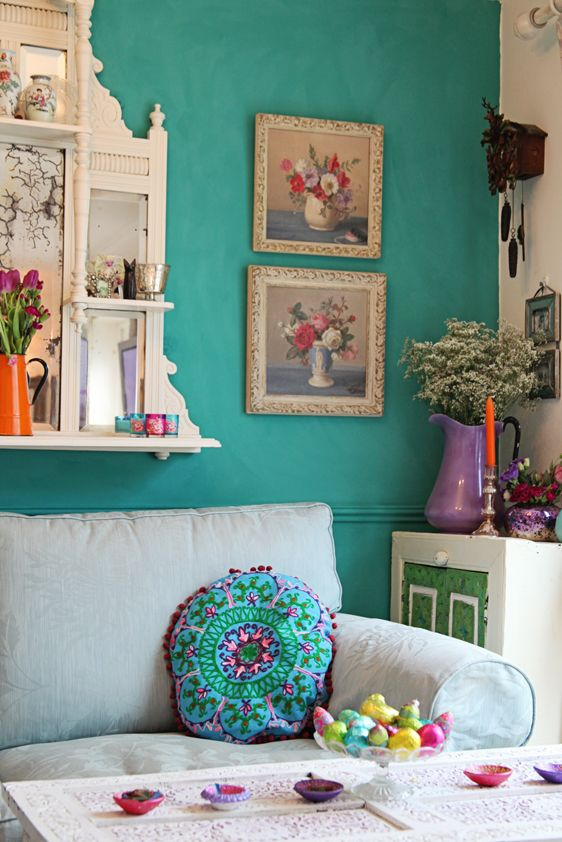 You can use Chalk Paint® decorative paint by Annie Sloan on walls. Here they've used Florence. Hot vibrant colours resonate with each other. Orange, Jade, Purple, Pink, Green. Thank you Dandelion House in Bucks and London xx