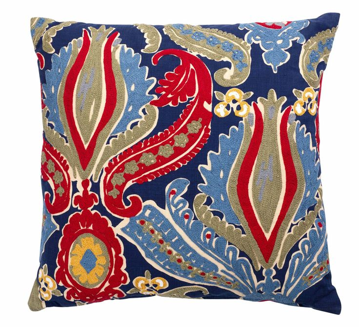 The bold pattern of this crewelwork cushion will brighten up the simplest of rooms.  Priced at £20.