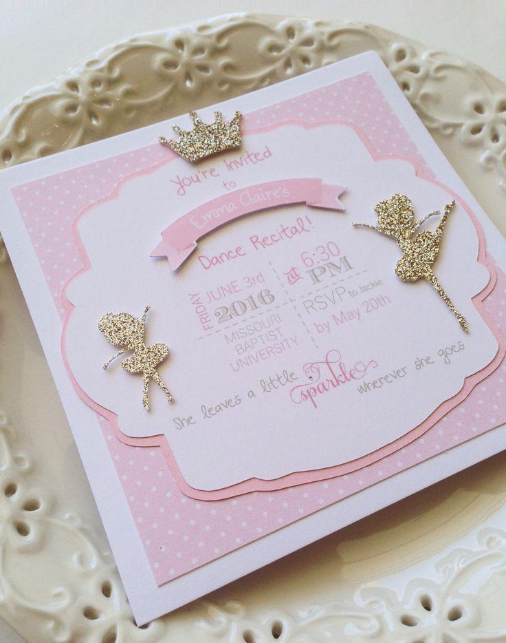Dance Recital Invitations | Ballerina Birthday Invitations | Glitter Invitation | Ballerina Invitation | Pink Gold Invitation | Dance Mom by thegatheringplaceco on Etsy https://www.etsy.com/listing/271959480/dance-recital-invitations-ballerina