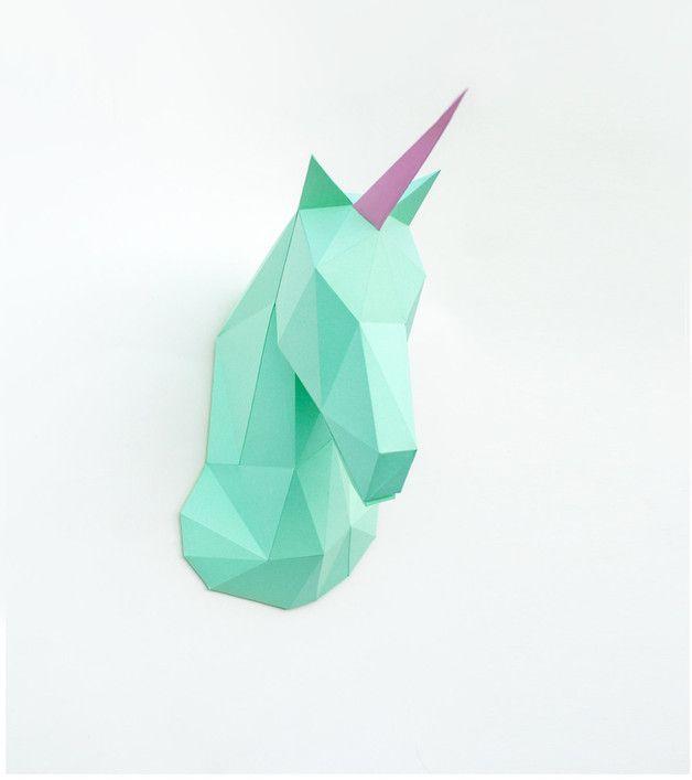 Ornaments – Paper unicorn, Trophy head unicorn – a unique product by Mike-Puliak on DaWanda