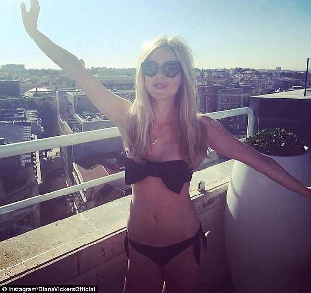 What a view! Showcasing her slim physique in a black two-piece, Diana Vickers stretched ou...