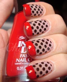 """""""I used the dots image on the Bundle Monster plate BM19, Professional 10 color #415 Pinky Promise for my base, Wet n' Wild Black for the dots and Sally Hansen Rapid Red for my tips."""""""