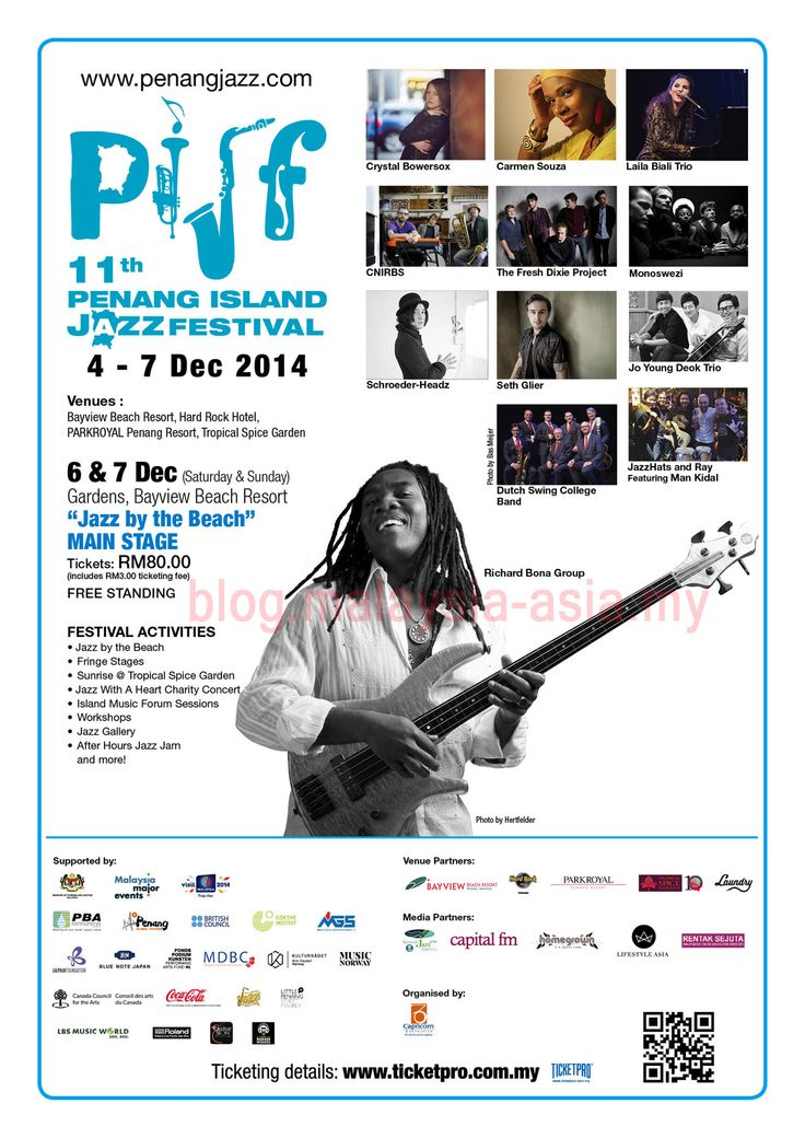 Penang Jazz Festival 2014 which takes place from December 5-7 at Bayview Beach Resort in Penang Island, Malaysia. #PIJF #PIJF2014 #PenangJazz