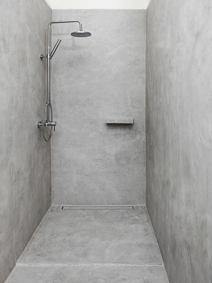 Badezimmerbetonwachs Grau Au Nom Du Fil Badezimmerideen Zement Badezimmer Und Beton Dusche
