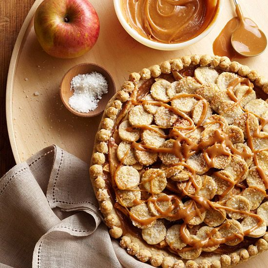Salted Caramel Apple Pie - this sounds totally fabulous! I love anything drizzled with caramel! More apple pie recipes: http://www.bhg.com/recipes/desserts/pies/apple-pie-recipes/