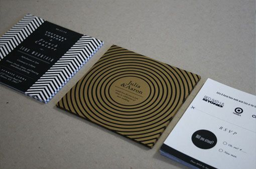 Modern invites with a black, white and gold color palette by Aaron Robbs
