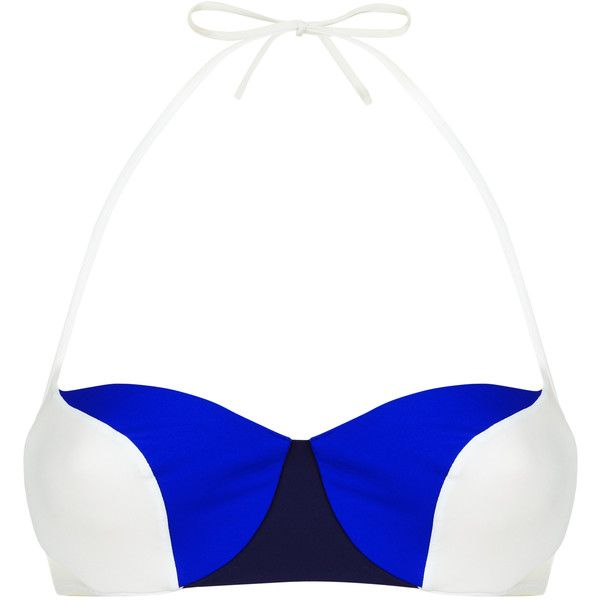 La Perla Color Power Multi-Coloured Underwired Bandeau Bikini Top ($144) ❤ liked on Polyvore featuring swimwear, bikinis, bikini tops, beach bikini, navy bikini top, underwire bandeau bikini top, white two piece and beach wear