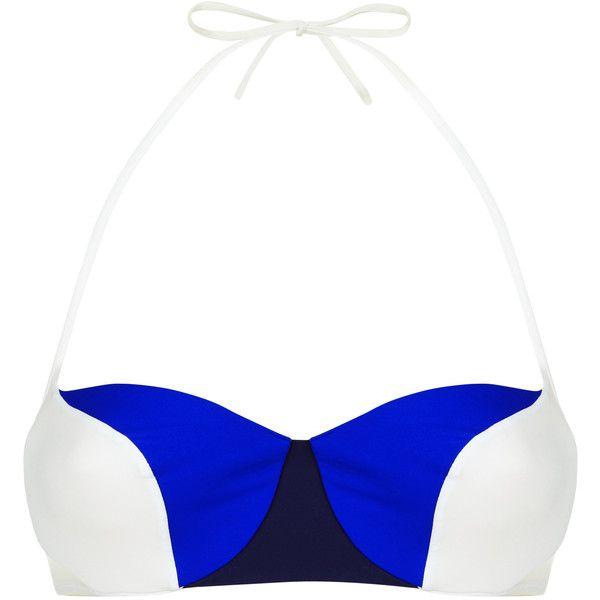 La Perla Color Power Multi-Coloured Underwired Bandeau Bikini Top ($144) ❤ liked on Polyvore featuring swimwear, bikinis, bikini tops, beach bikini, navy bikini top, underwire bandeau bikini top, white two piece and beach wear