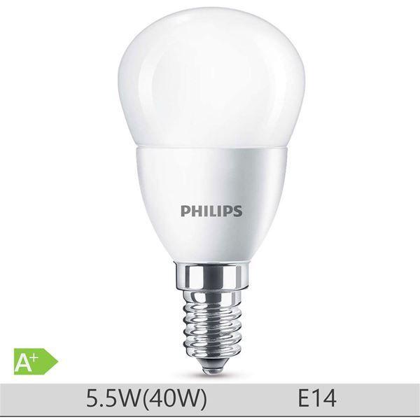 Bec LED Philips 5.5W E14 forma clasica P45, lumina neutra http://www.etbm.ro/tag/149/becuri-led-e14