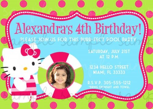 hello kitty pool party invitations | Hello Kitty Birthday Invitation Pool Party | digiprintsbytnl - Cards ...