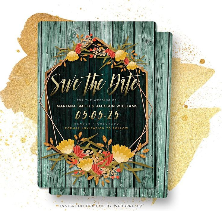 Woodsy Floral Rustic Save the Date Card
