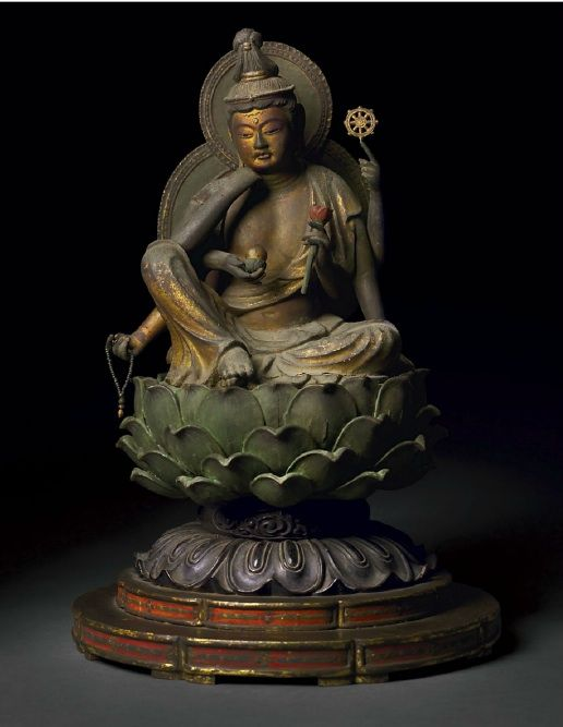 "A POLYCHROME- AND GILDED-WOOD FIGURE OF NYOIRIN KANNON, ""THE BODHISATTVA WHO GRANTS DESIRES"" JAPAN, KAMAKURA PERIOD, WITH DOCUMENTATION DATED 1304 CE"