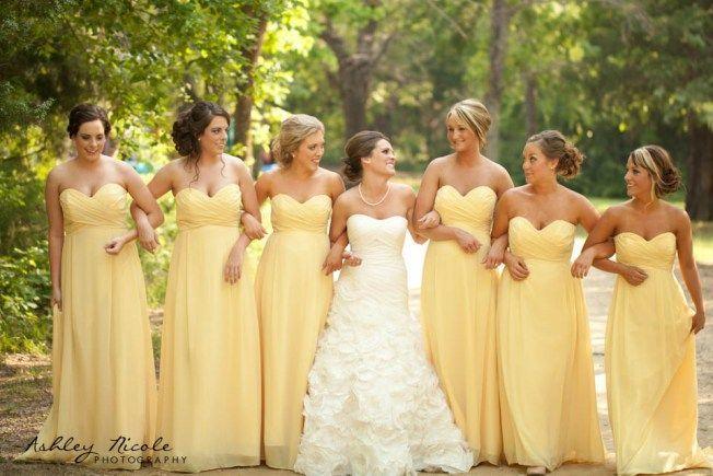 Gele bruidsmeisjes jurken