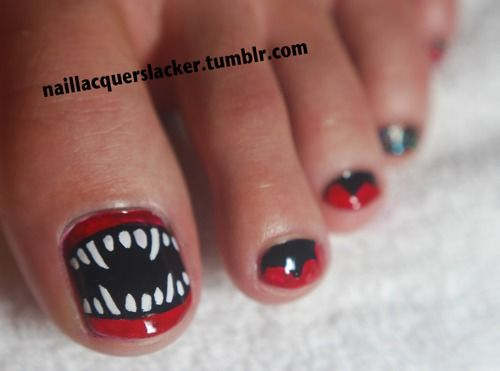 "men can have awesome nail art too! naillacquerslacker: "" My boyfriend let  me practice on his toe nails! He wanted something bad ass so I did a design  from ... - Best 25+ Halloween Toes Ideas On Pinterest Halloween Toe Nails"