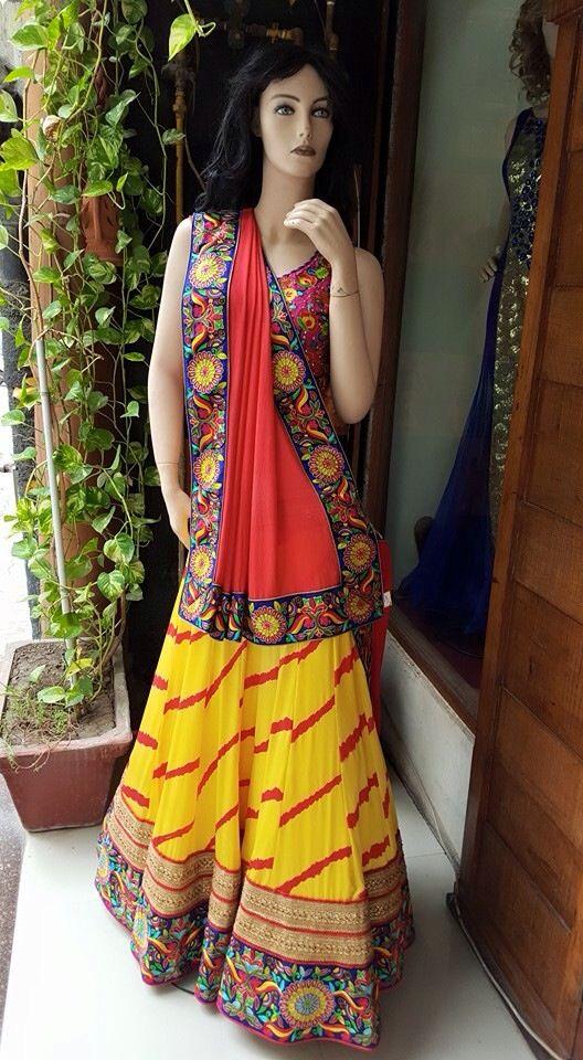 Pure silk satin lengha with resham handwork, the best option for sangeet or menhdi only at manish reshamwala fashion studio Surat 09879568040