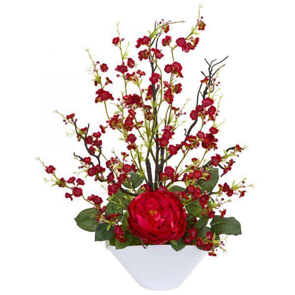 23 H Faux Red Rose Cherry Blossom Arrangement Artificial Flowers Artificial Floral Arrangements Flower Pots