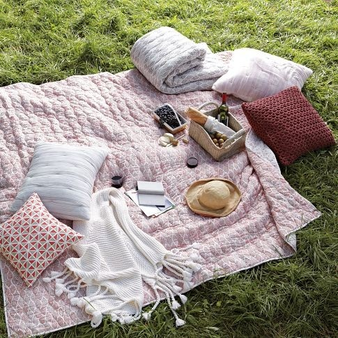 Bring lots of comfy pillows and blankets for a fun picnic.