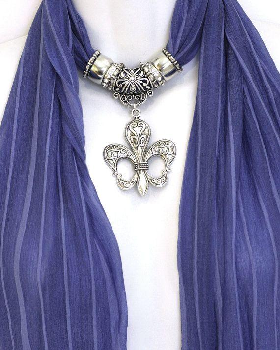 Fleur De Lis Pendant Scarf Necklace by RavensNestScarfJewel, $24.00
