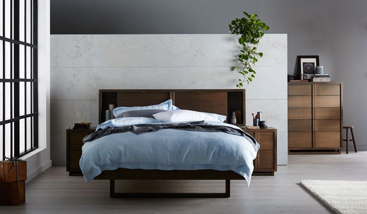 Adorn your bedroom with the Monarch. Fashioned from Solid Victorian Ash, this sleek bedroom suite features an open, recessed bookcase bed head with the added benefit of an in-built storage cabinet. This statement piece of furniture offers convenient living at it's finest.