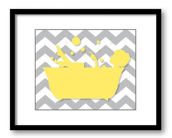 Bathroom Decor Bathroom Print Yellow and Grey Girl in a Bathtub Tub Bathroom Art Print Wall Decor Modern Minimalist on Etsy, $1.20
