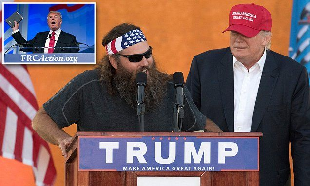 Duck Dynasty's Willie Robertson backs Donald Trump after vowing to reclaim Christmas | Daily Mail Online People are really buying this narrative, hook, line and sinker! Trump is a fraud and if he's elected you'll see he's another Obama but under the 'Republican' side. Wake up and vet him!