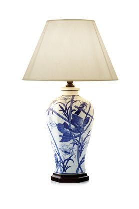 BIRD, BUTTERFLIES & FLOWERS TABLE LAMP WITH SHADE