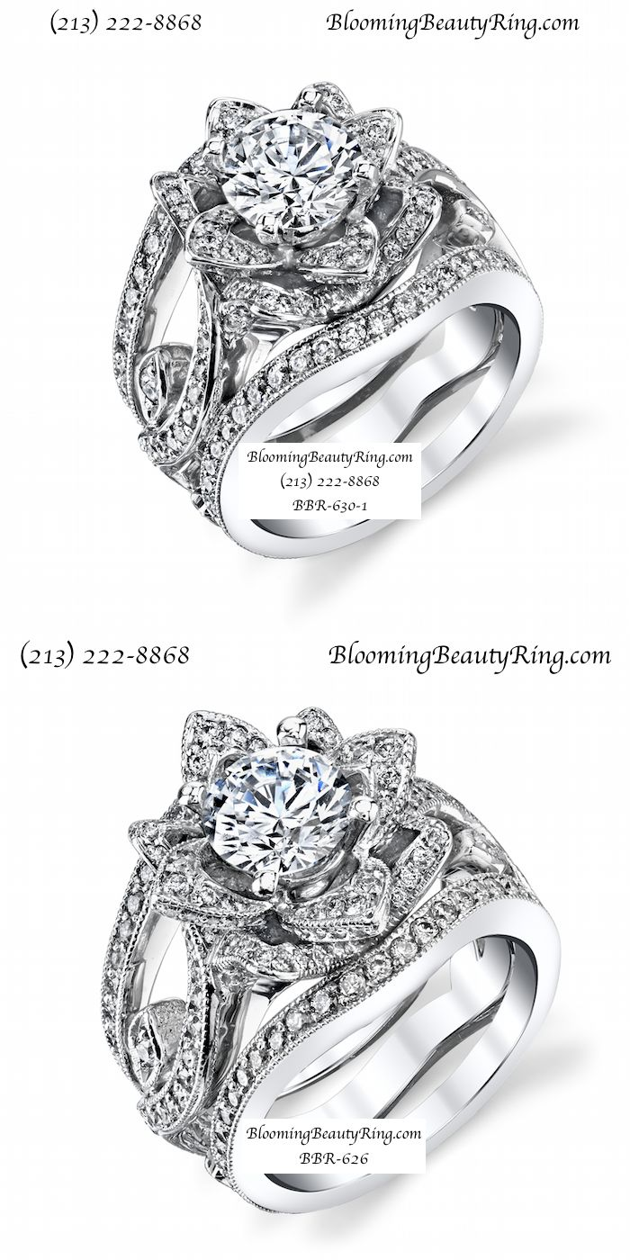Large Version and Small version of the new flower ring designs from BloomingBeautyRing.com  (213) 222-8868  (Wedding Rings are custom made and attached to the center flower ring)  #WeddingRings #FlowerRings  (213) 222-8868