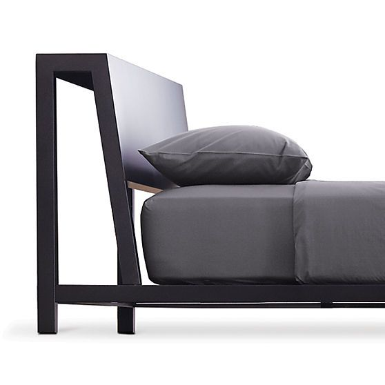 $649 alpine gunmetal queen bed | CB2 | RAD!  Simple and the headboard also acts as a little shelf above your head.