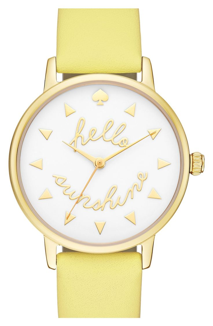 This cute Kate Spade watch is sure to bring a smile to the face with every check of the time. It's cheerful color and message brighten any ensemble.