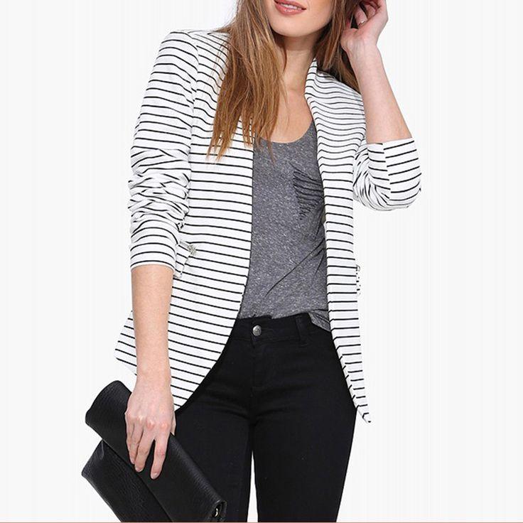 Autumn Blazer Women 2017 Black and White Horizontal Stripes Blazer Feminino No Button Lady Blazers and Jackets Office Wear #Affiliate