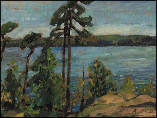 """""""The Silent Pines,"""" Arthur Lismer, oil on board, 9 x 12"""", private collection."""