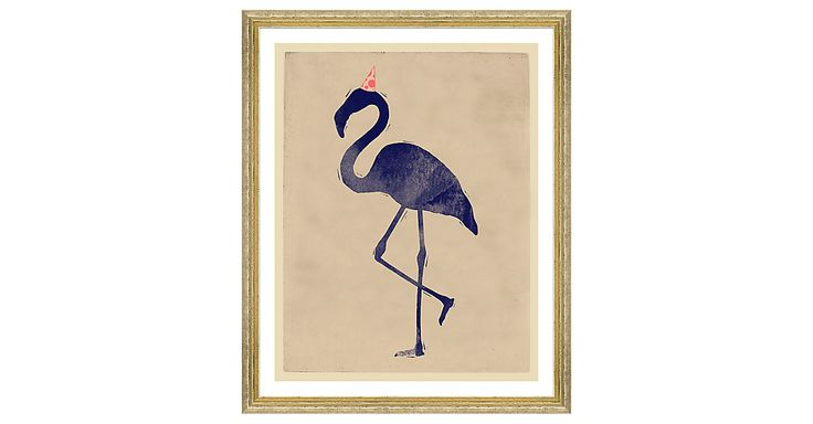 Exclusive to One Kings Lane: This charming print of a flamingo in a party hat makes a fun, spirited addition to a beach house or the playroom. Displayed under glass in a golden wood frame, this...