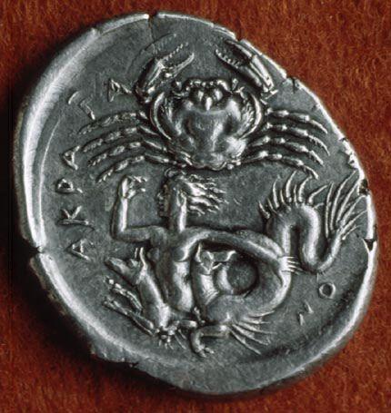 Scylla | Flickr - Photo Sharing! Crab and Scylla. Greek silver tetradrachm from Agrigento/Akragas, 413-406 BCE. Museum of Fine Arts, Boston.: