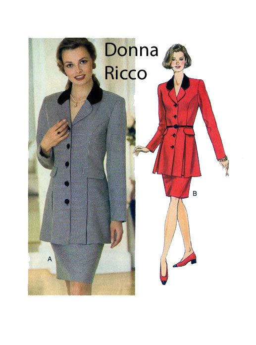 DONNA RICCO Designer Suit Butterick 4123 Equestrian Style Size 12-14-16 UNCUT Long Button Front Jacket & Straight Skirt by FindCraftyPatterns on Etsy